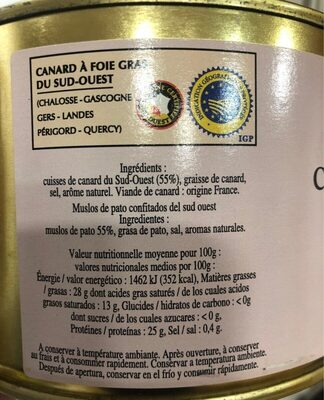 Confit de Canard du Sud-Ouest - Información nutricional