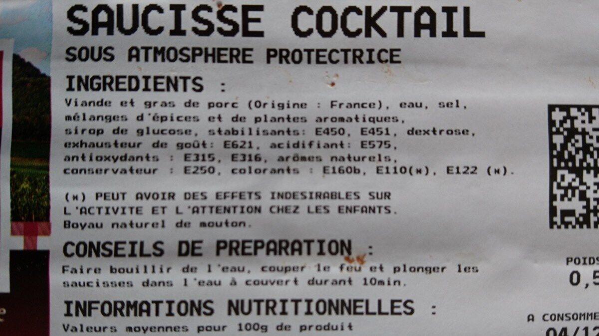 Saucisse cocktail - Ingrédients - fr
