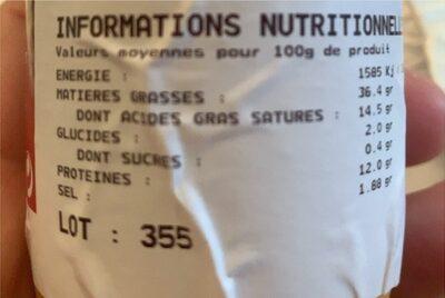saucisse de foie - Informations nutritionnelles - fr