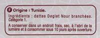 Dattes Deglet Nour Branchées - Ingrédients