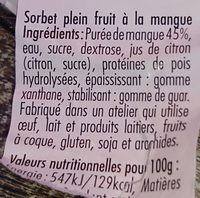 Sorbet plein fruit Mangue des Indes - Ingredients