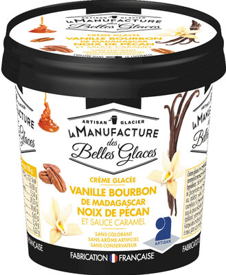 Crème glacée à la vanille Bourbon de Madagascar avec sauce au caramel et morceaux de noix de pécan caramélisées - Produit - fr