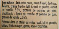 Crème glacée Vanille Bourbon de Madagascar au lait entier - Ingredients