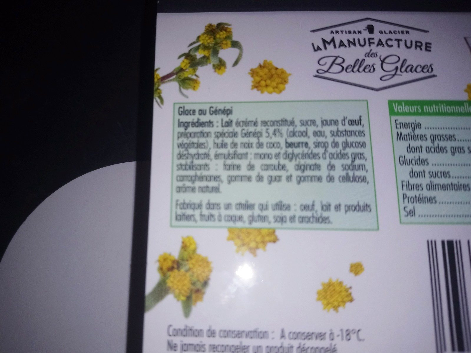 Glace Genepi - Ingredients - fr
