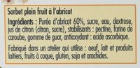 Sorbet Abricot de France - Ingredients