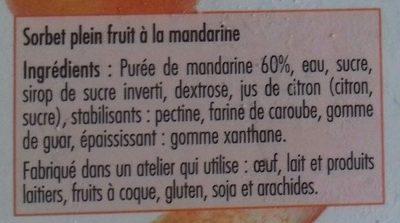 Sorbet plein fruit à la mandarine - Ingrediënten - fr