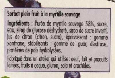 Sorbet Myrtille sauvage - Ingrédients