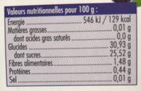 Sorbet Myrtille sauvage - Informations nutritionnelles