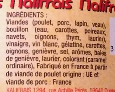 Potjevleesch - Ingrédients - fr