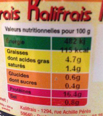 Potjevleesch - Informations nutritionnelles - fr