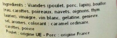 Potjevleesch désossé - Ingrédients - fr