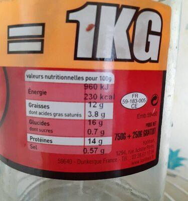 Poulet au Maroilles - Valori nutrizionali - fr