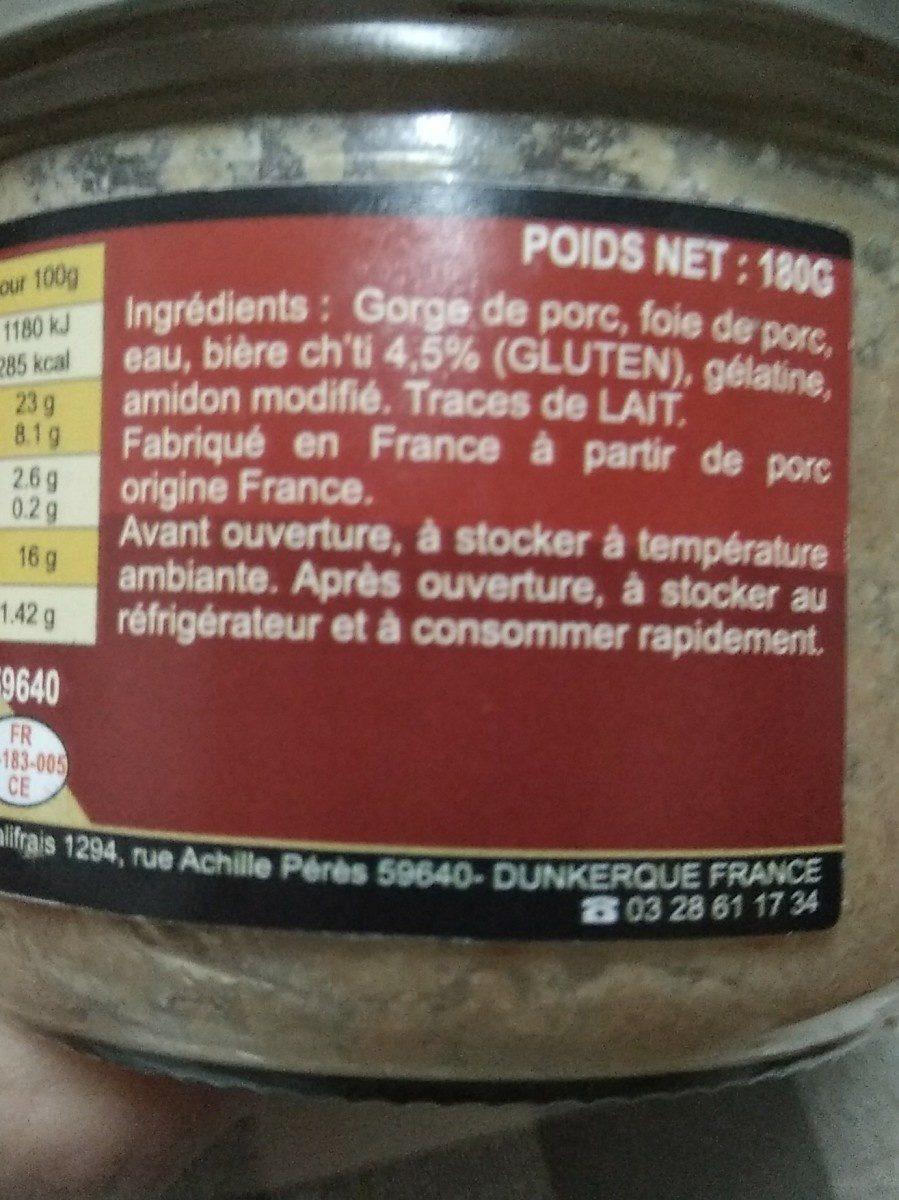 Terrine à la bière chti - Ingredienti - fr