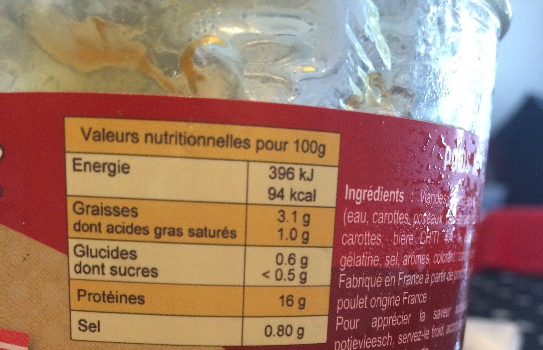 Potjevleesch sans os - Informations nutritionnelles - fr