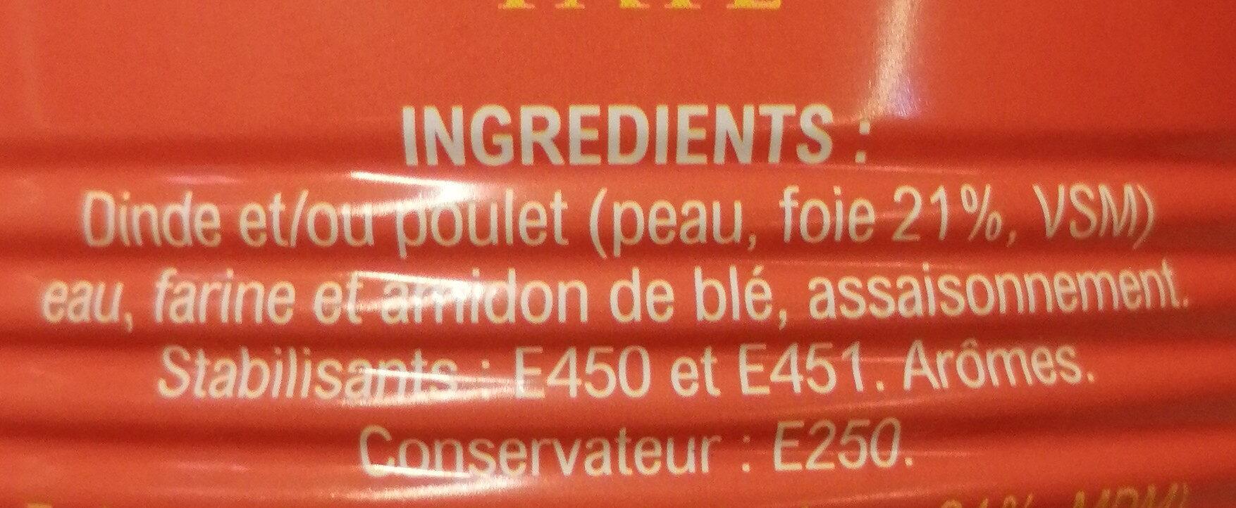 Pâté de foie de volaille - Ingrédients