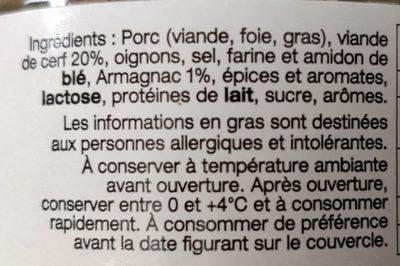 Terrine de Cerf à l'armagnac - Ingredients