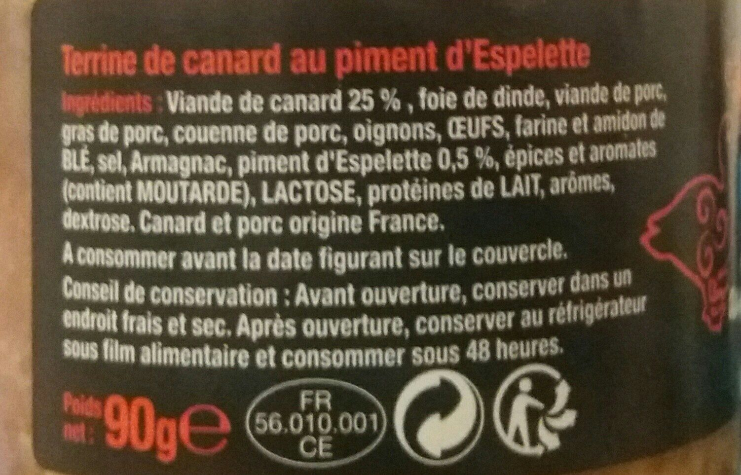 Canard piment espelette - Ingrediënten