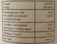 Poudre chocolat chaud - Voedingswaarden