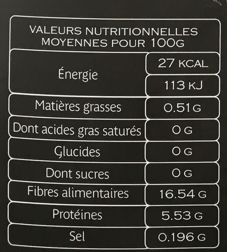 Truffe Noire - Informations nutritionnelles - fr