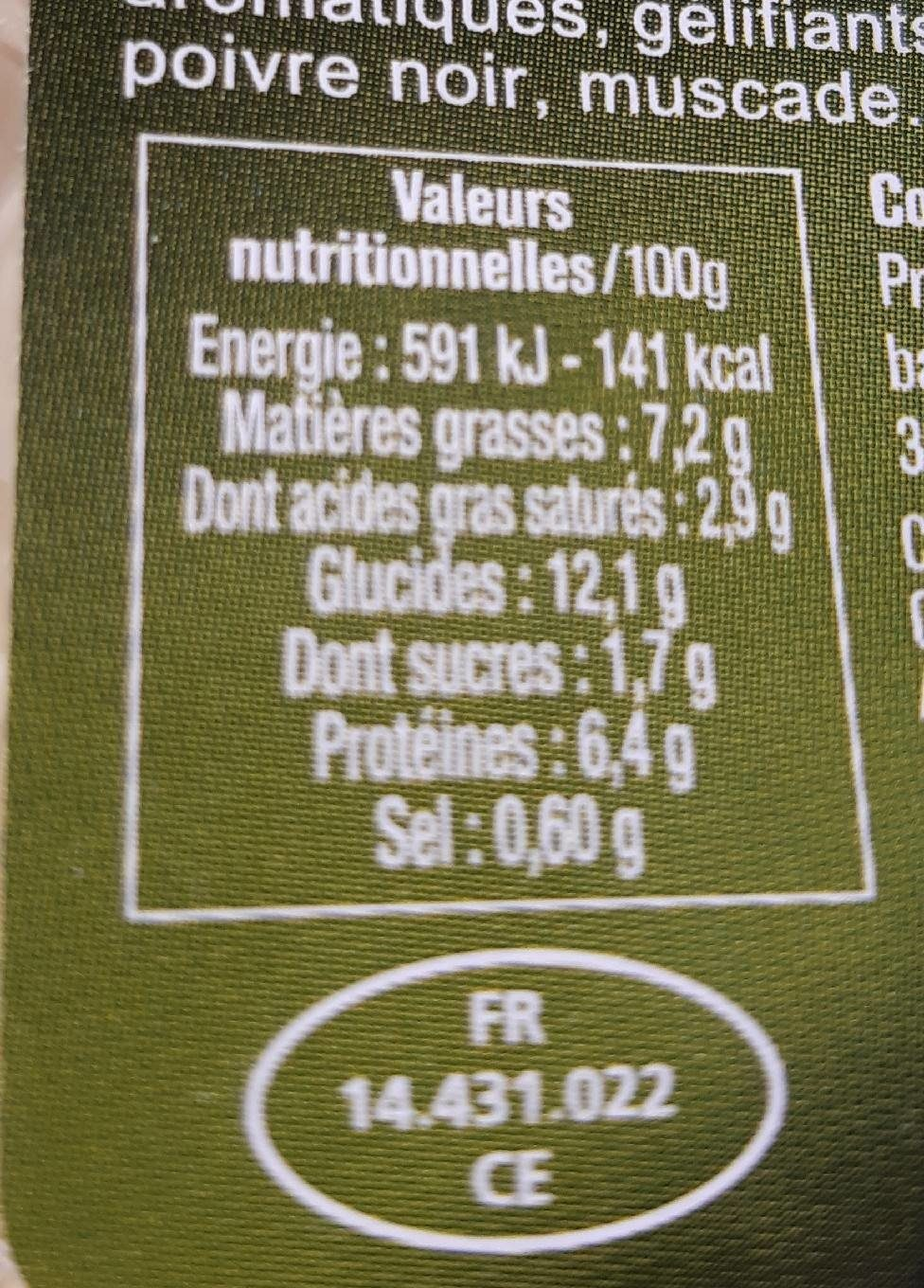 Lasagne bolognaise - Nutrition facts - fr