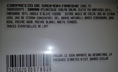 Carpaccio saumon mariné - Ingredients
