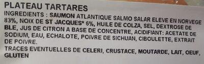 Plateau tartares (saumon / saumon St Jacques) - Ingrédients - fr