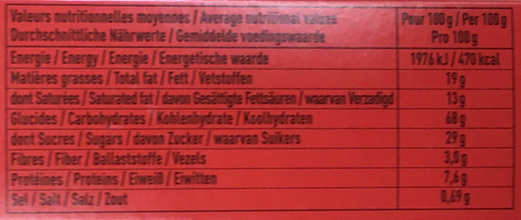 Charles VII craquant chocolat noir 54% - Voedigswaarden