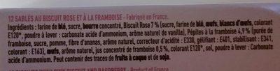 Le Sablé au Biscuit Rose à la framboise - Ingrediënten