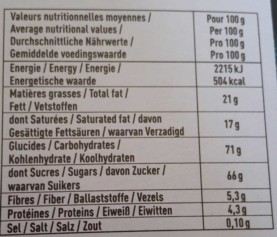 Le Véritable Macaron Coco Chocolat - Nutrition facts - fr