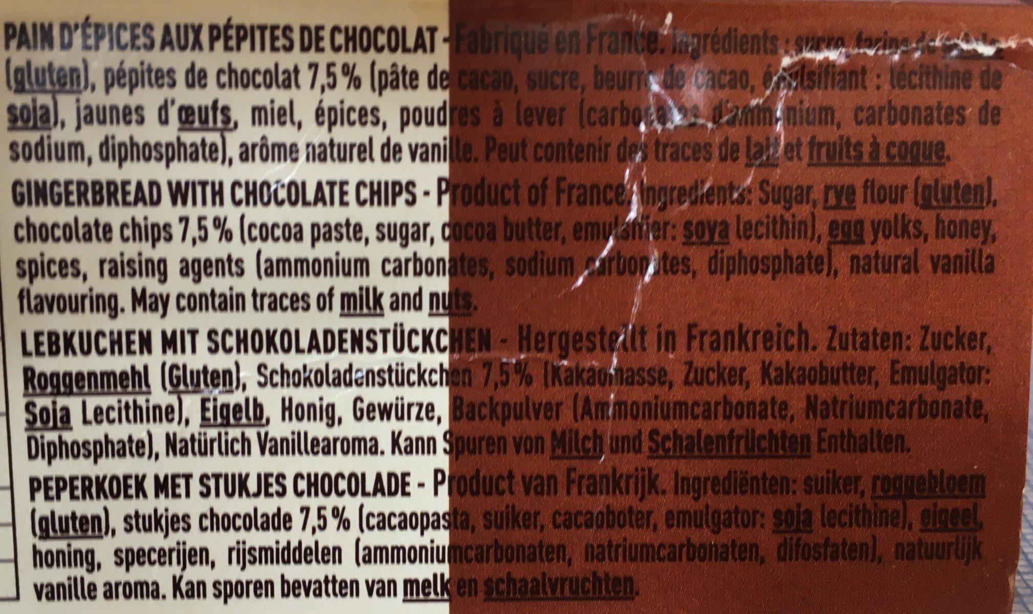 Pain d'épices goûter aux pépites de chocolat - Ingrediënten - fr