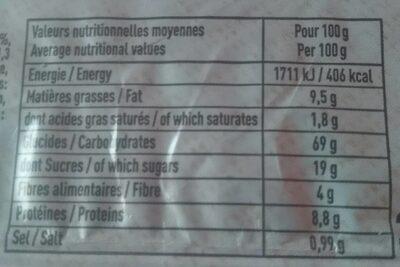 Le Rémois 7 céréales aux pépites de chocolat - Nutrition facts