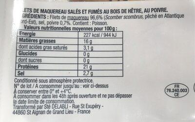 Maquereau Fumé au Bois de Hêtre - Poivre - Voedingswaarden - fr