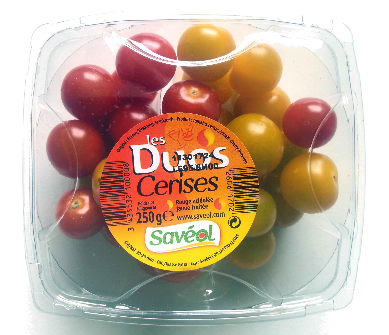 Les Duos Cerises, Rouge acidulée Jaune fruitée 250 g - Savéol - Produit