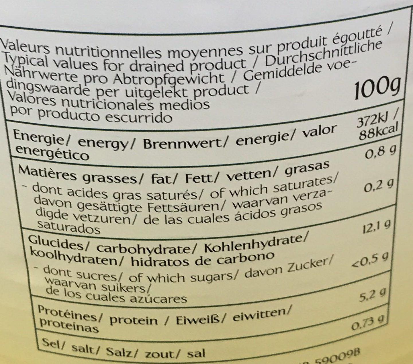 Flageolets verts extra fins - Voedingswaarden - fr