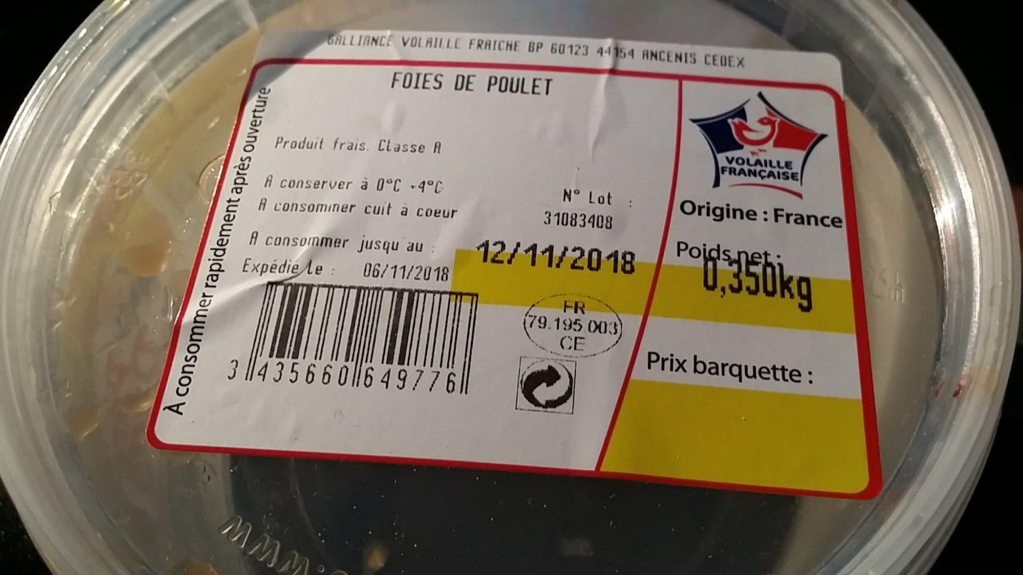 Foies de poulet - Ingredients - fr