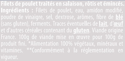 Émincés de filet poulet rôti - Ingrédients - fr