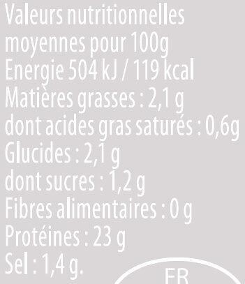 Émincés de filet poulet rôti - Informations nutritionnelles - fr