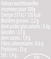Émincés de filet poulet rôtis curry - Valori nutrizionali - fr
