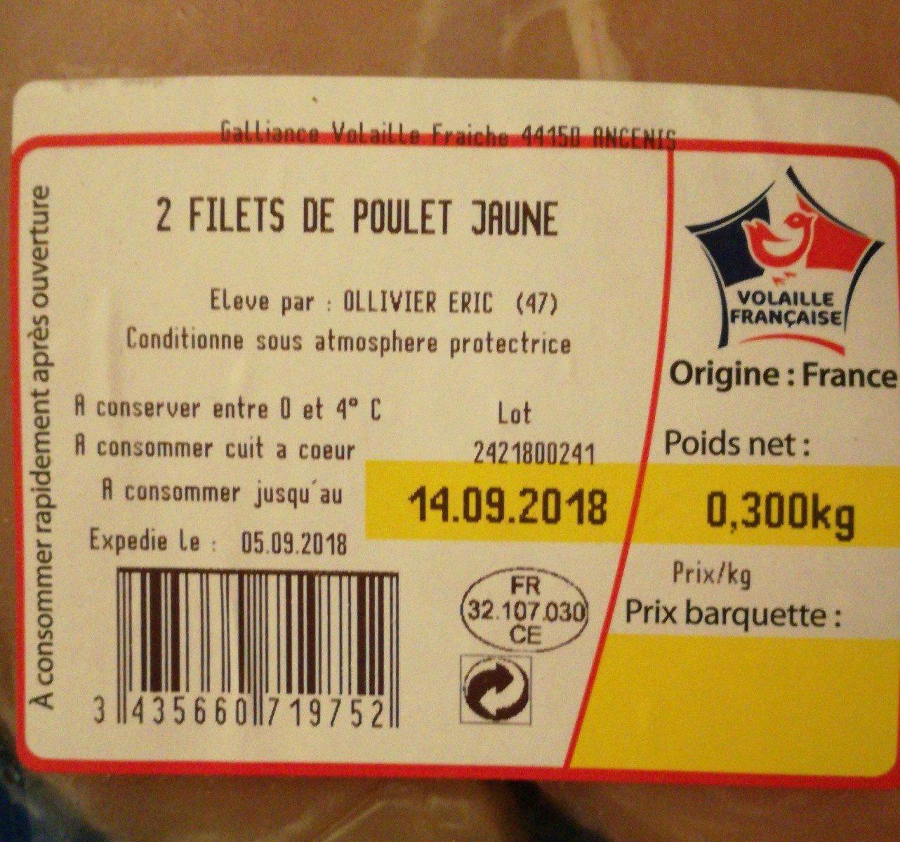 Filets de poulet jaune - Ingrédients - fr