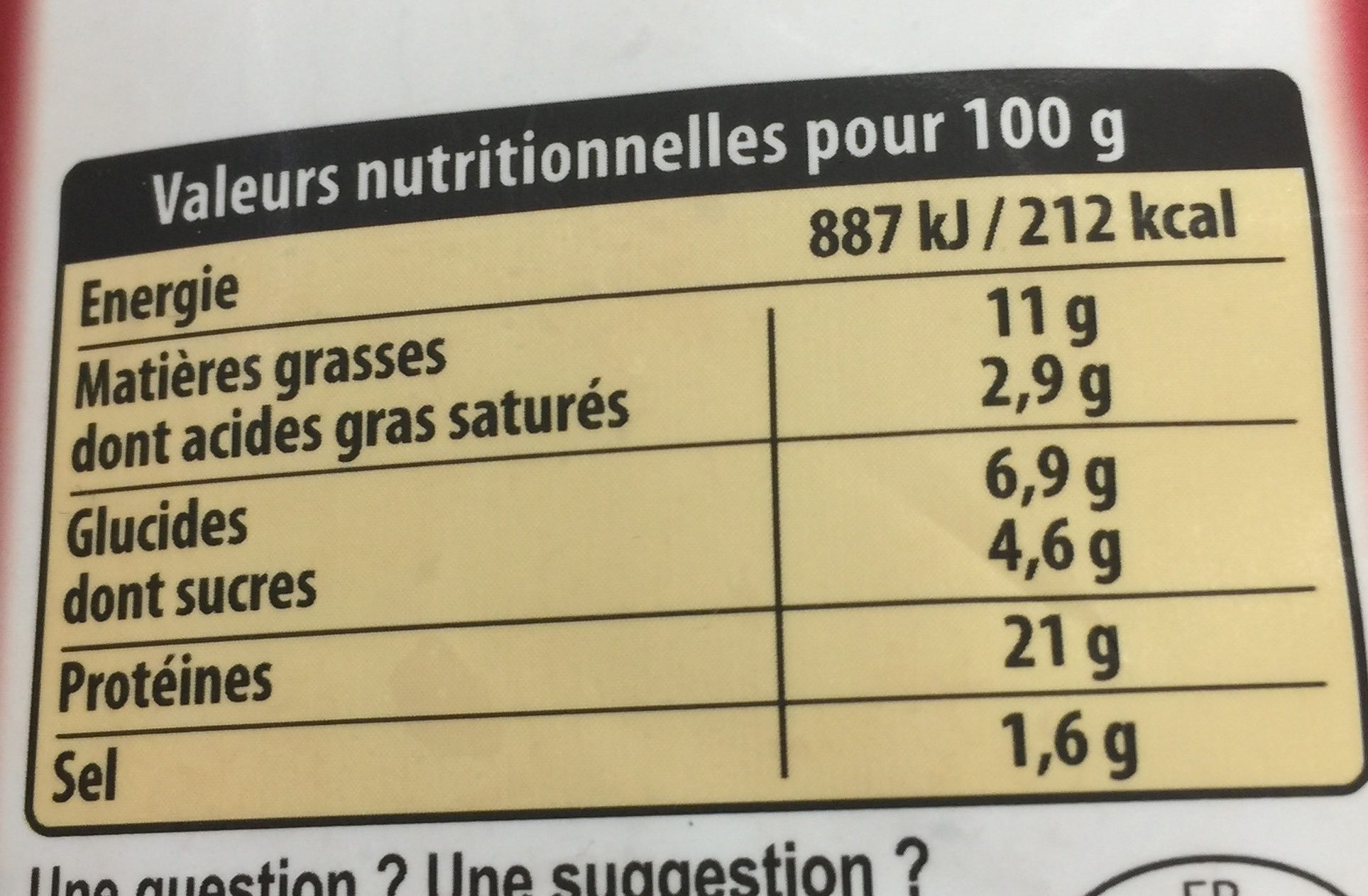 Wings barbecue - Informations nutritionnelles