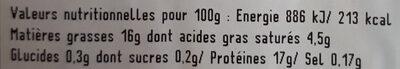 Tranches de filet de canard - Nutrition facts - fr