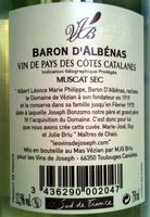 Baron d'Albénas 2010 - Ingrédients - fr