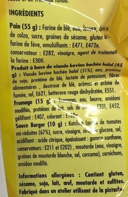 Cheese Burger Halal - Ingredients