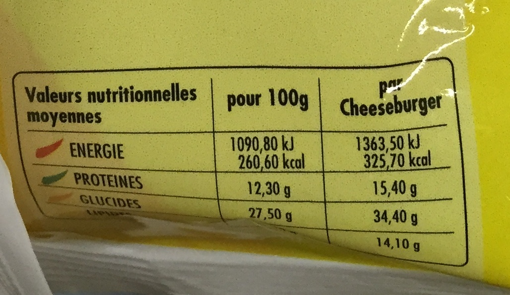 Cheese Burger Halal - Nutrition facts