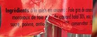 Bloc de Foie Gras de Canard avec morceaux (30%) - Ingrédients - fr