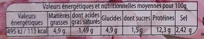Allumettes de Dinde - Nutrition facts