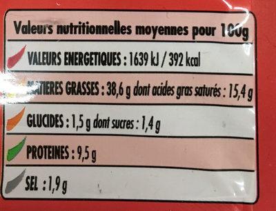 Merguez halal - Informations nutritionnelles - fr
