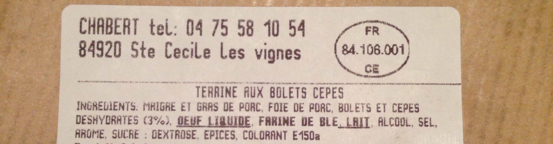 Terrine aux bolets cepes - Ingrediënten - fr