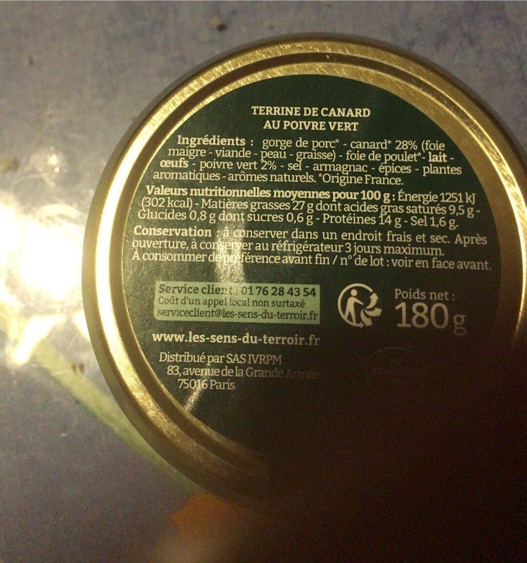 Terrine de canard - Informations nutritionnelles - fr