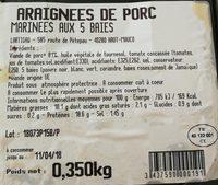 Araignées de porc marinées 5 baies Lartigau - Ingrediënten